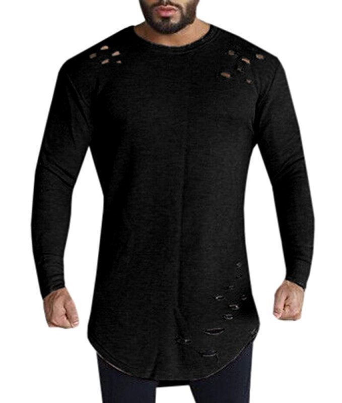 Men Long Sleeve Solid Color Loose T-Shirt Easy Leisure Casual Round Collar Tops T-shirt