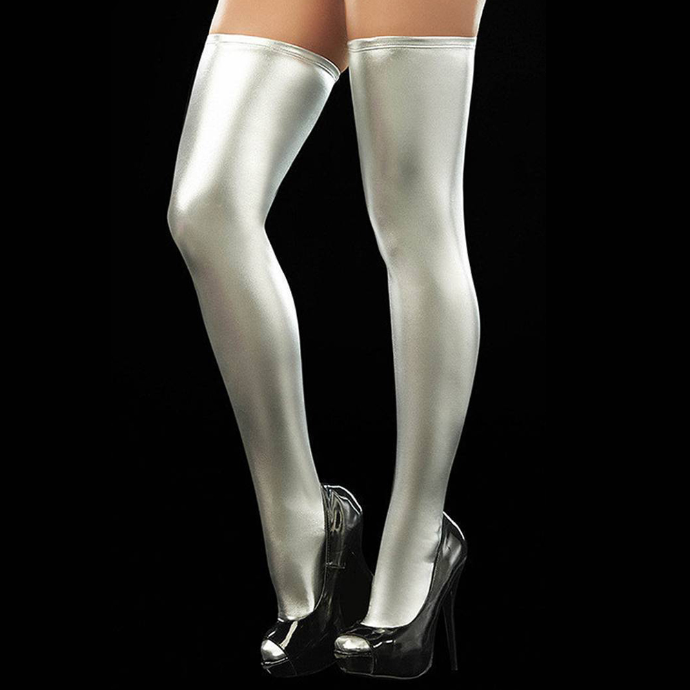 Sexy Leather Trousers Patent Leather Socks Thigh Stockings Silver_One size