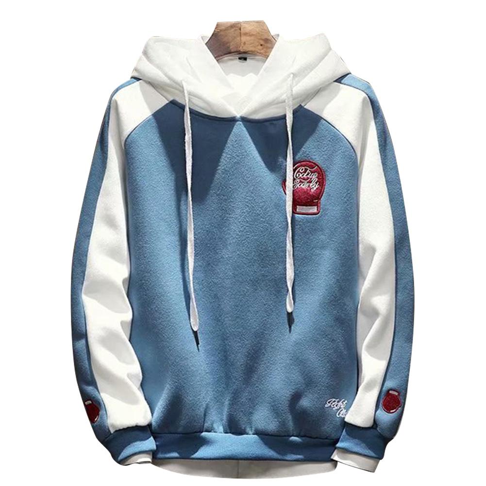 Men Campus Casual Loose Fleece Hoodeid Long-Sleeved Letters Printed Sweater Coat  Fist sweater blue_L