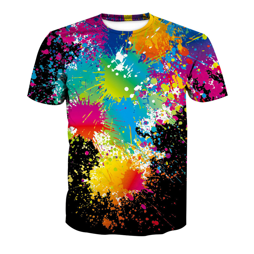 Unisex Fashion 3D Digital Printing Graffiti Short Sleeve Shirt Graffiti_L