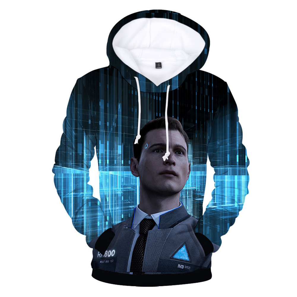 Men Fashion 3D Digital Print Hoodie Casual Hooded Loose Type Sweater Tops C#_M