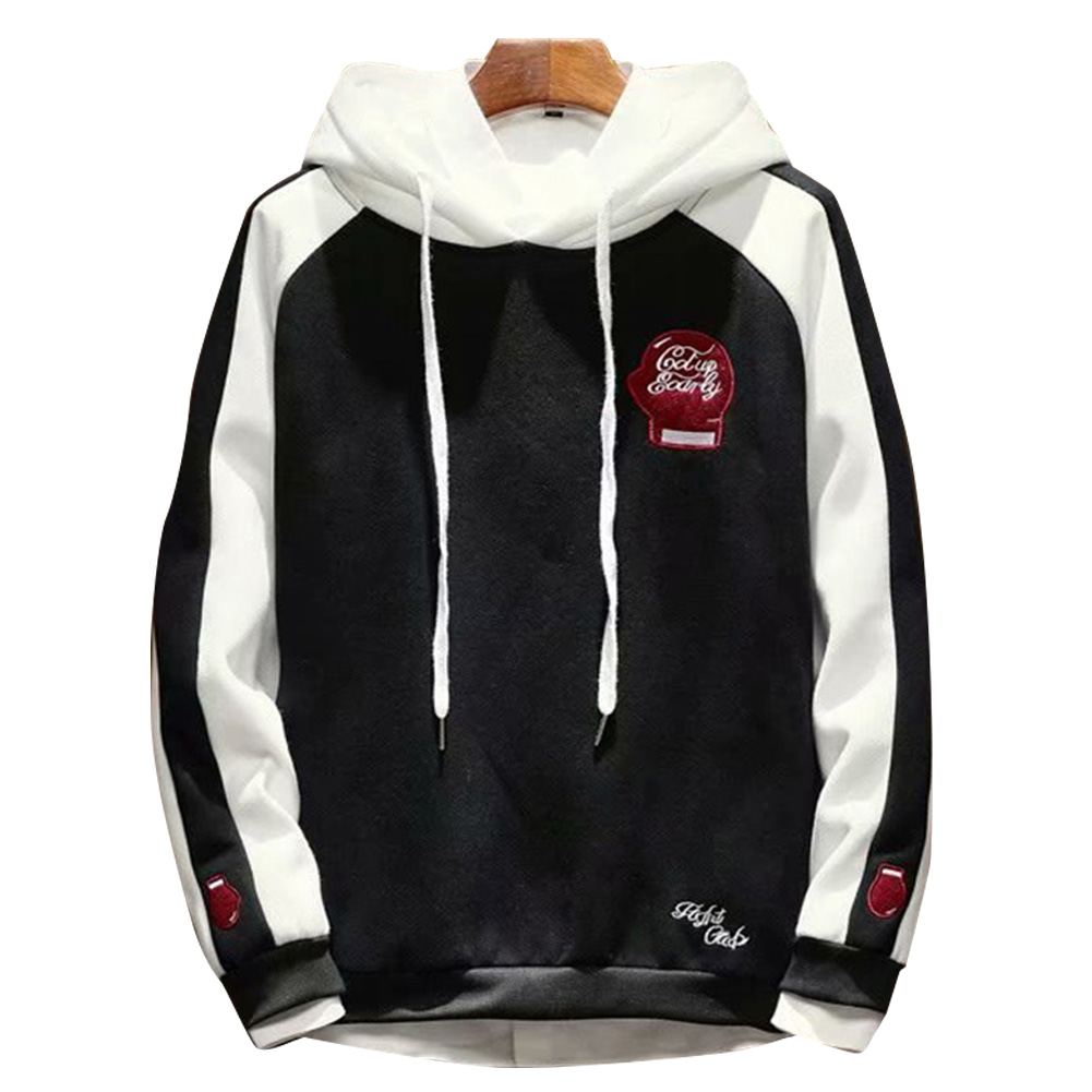 Men Campus Casual Loose Fleece Hoodeid Long-Sleeved Letters Printed Sweater Coat  Fist sweater black_L