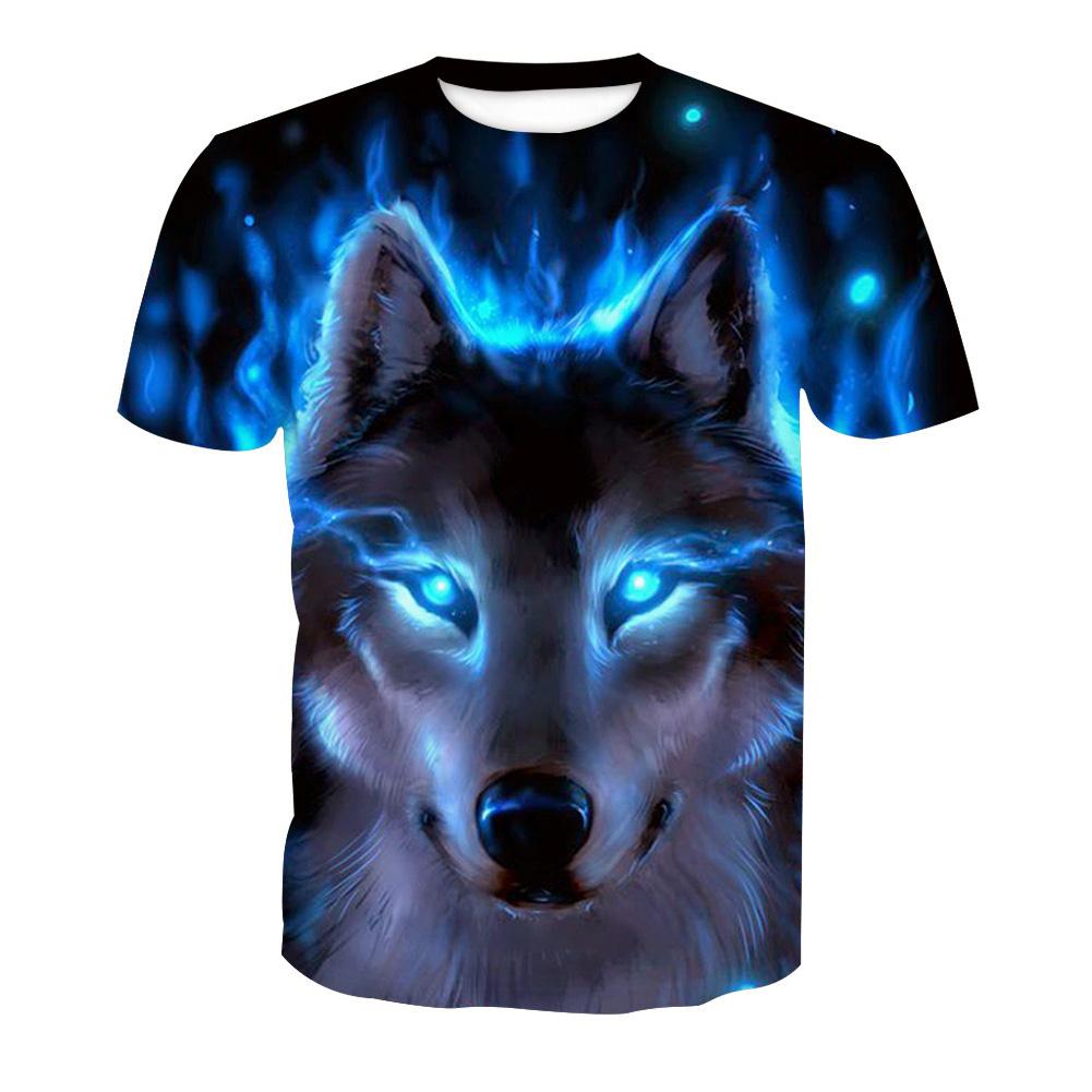 Men 3D Blue Wolf Digital Printing Pattern Short Sleeve T-shirt Wolf _L