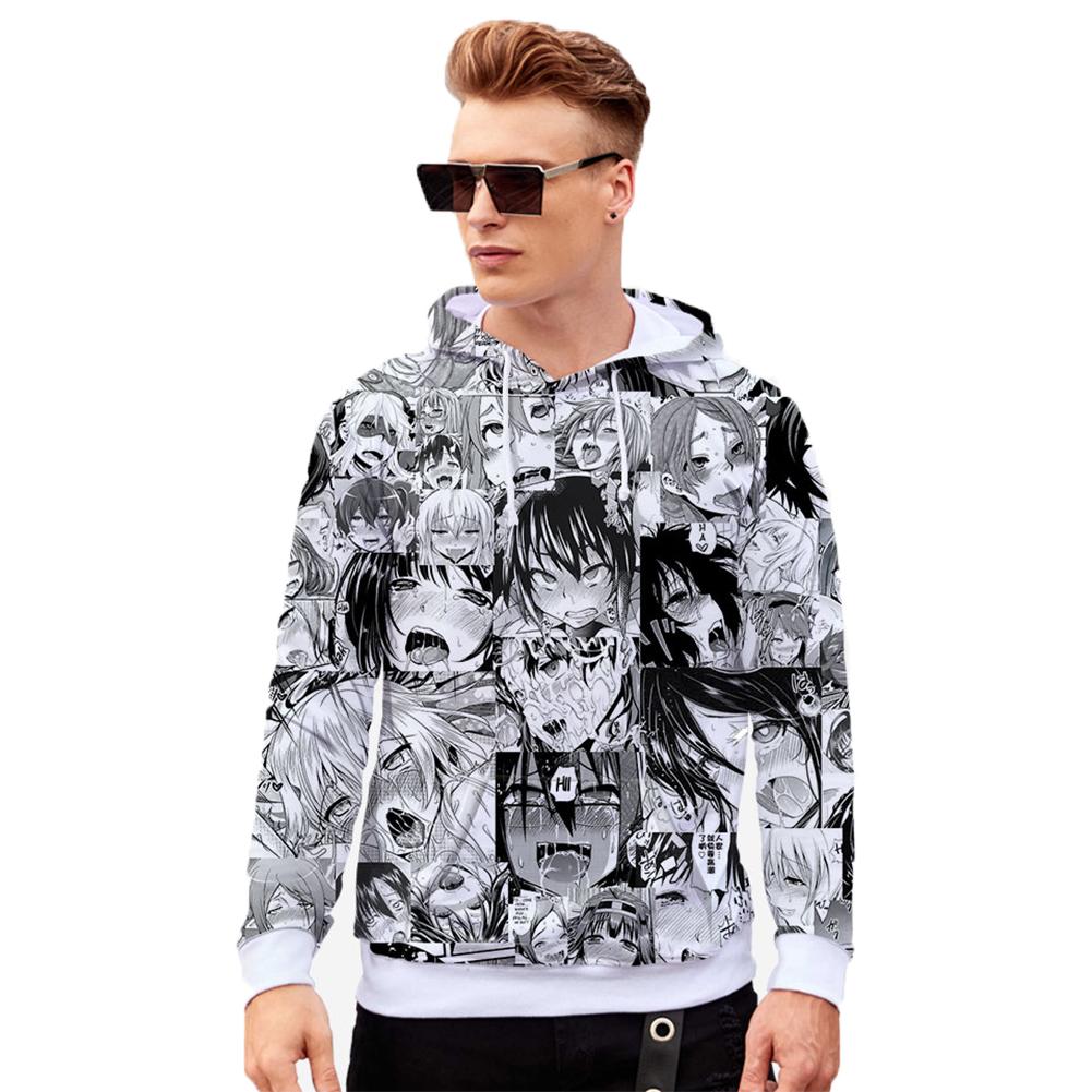 Unisex 3D Casual Digital Printing Fashion Pattern Long Sleeve Hooded Shirt Sweatshirts W style_XL