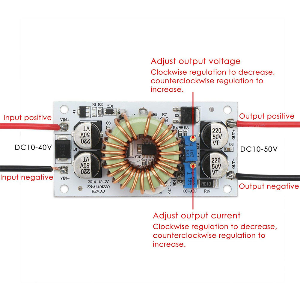 250W 10A Step-up Boost Converter with Current Limiter for Arduino DIY Power LEDs 250W