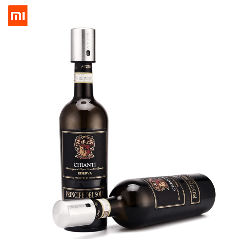 Original Xiaomi Circle Joy Smart Wine Stopper Stainless Steel Vacuum Memory Wine Stopper Electric Stopper