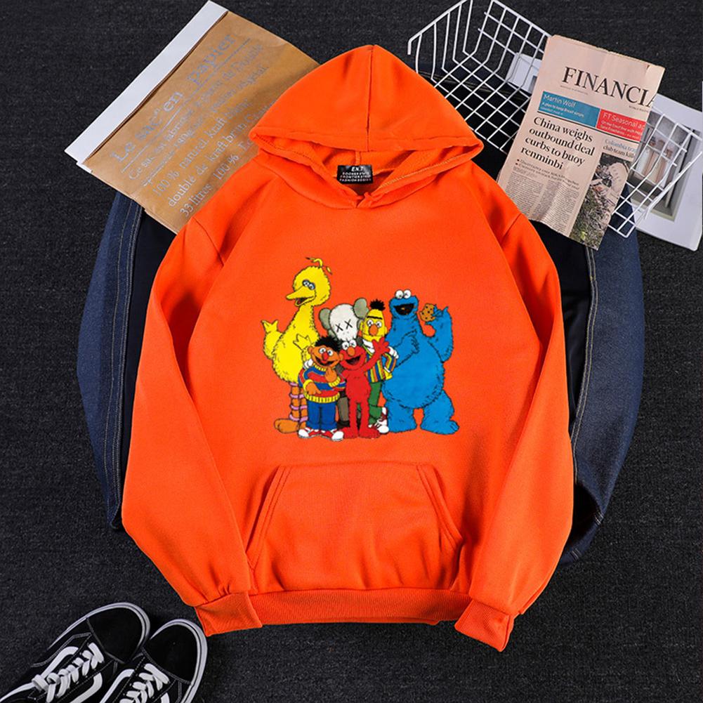 KAWS Men Women Hoodie Sweatshirt Cartoon Animals Thicken Autumn Winter Loose Pullover Orange_M
