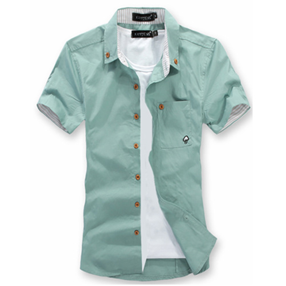 Short Sleeves Shirt Single-breasted Top with Pocket Leisure Cardigan for Man Grey-green_L
