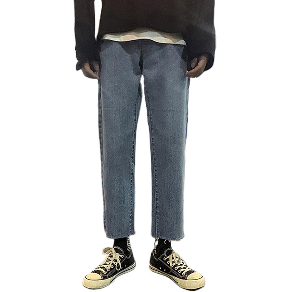 Men Jeans Denim Pants Low Waist Straight Bottom Loose Casual Male Trousers Blue_L