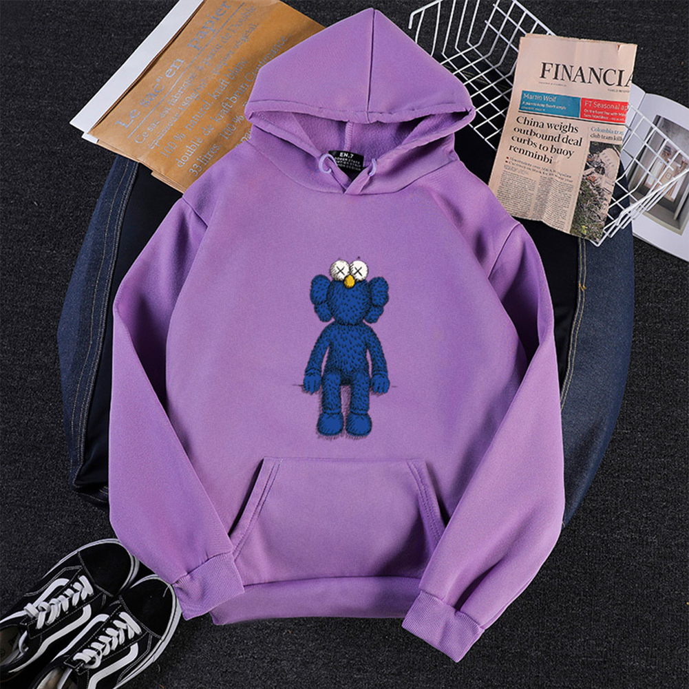 KAWS Men Women Hoodie Sweatshirt Cartoon Standing Doll Thicken Autumn Winter Loose Pullover Purple_S