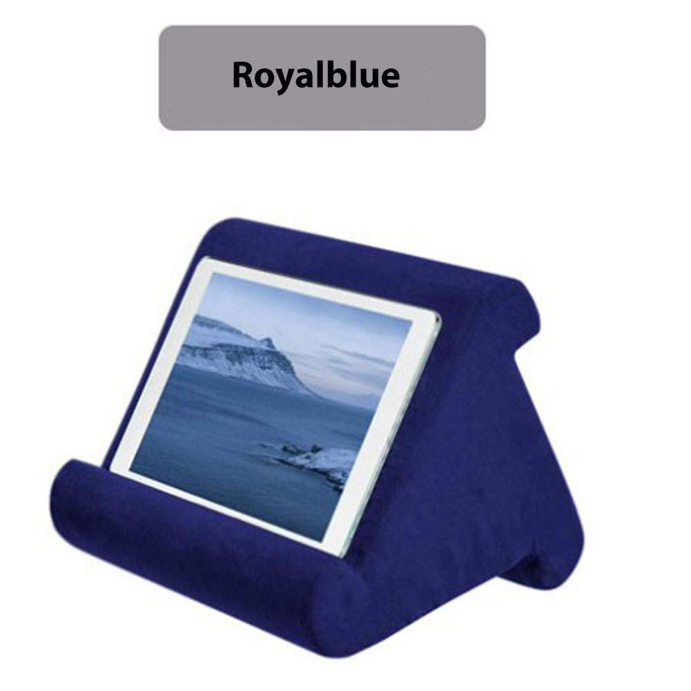 Multi-Angle Pillow Tablet Read Holder Stand Foam Lap Rest Cushion for Pad Phone Sapphire blue_Without net bag