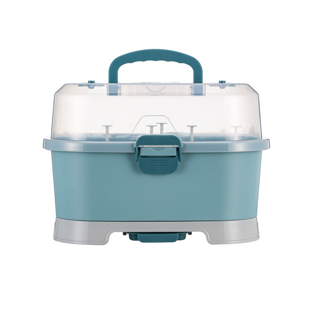 Pp Baby Bottle Storage Box Portable Easy To Clean Drain Storage  Box blue