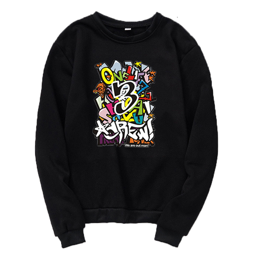 Unisex Cartoon Print Round Collar Loose Long Sleeve Casual Sports Sweatshirts black_M