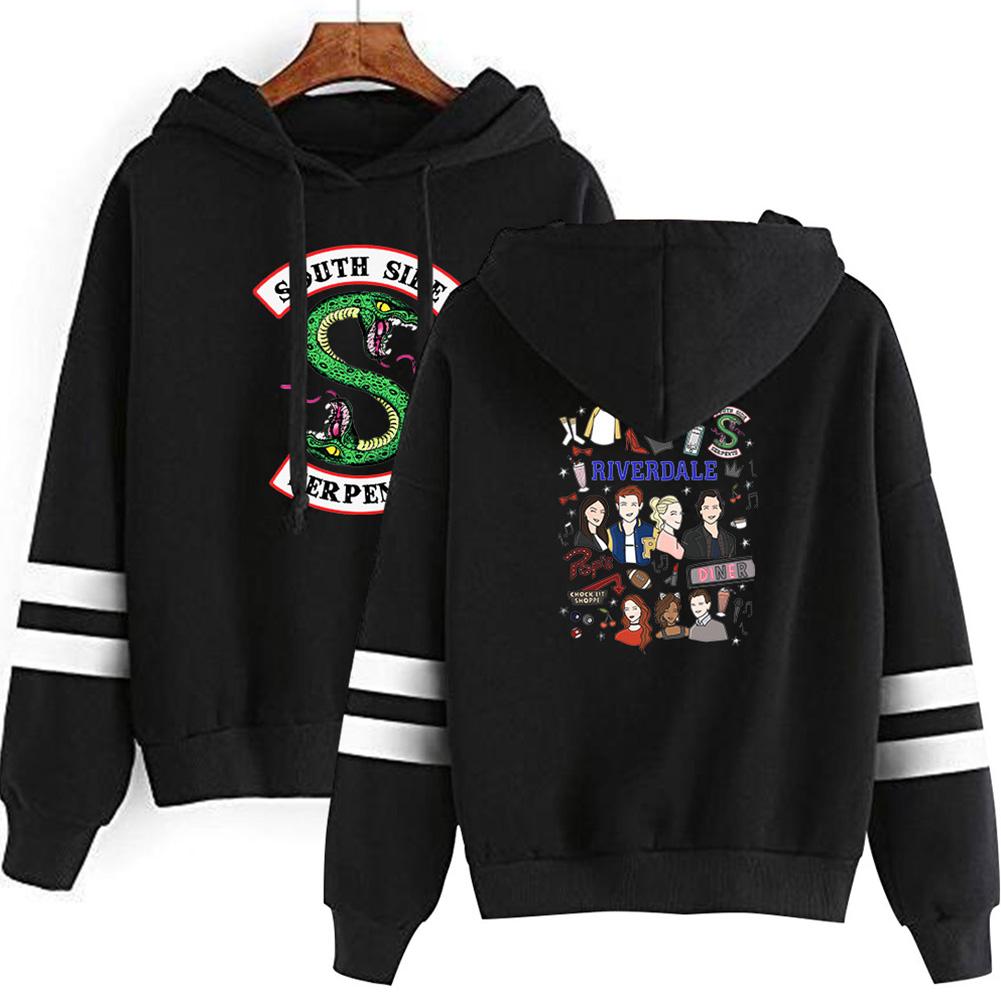 Men Women American Drama Riverdale Fleece Lined Thickening Hooded Sweater Black E_M
