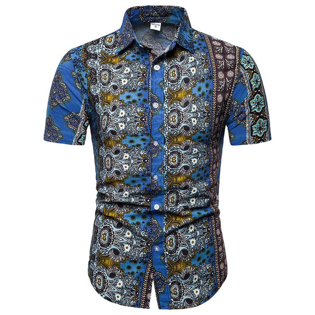 Men Summer Fashion Short Sleeve Breathable Casual Slim Shirt Tops blue_2XL
