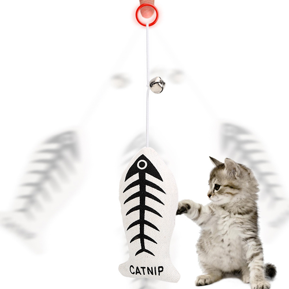 Interactive Toys Cat Toys with Bells Fish Elastic Rope Pull Cat Toys As shown