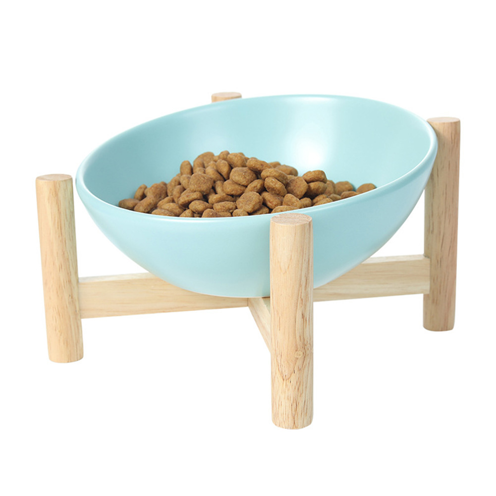 Pet Ceramic Bowl Solid Wood Frame Round Large Feeding Bowl Tilted 15 Degrees to Protect the Cervical Spine Water Bowl  Blue_Small size (bowl diameter 15cm)