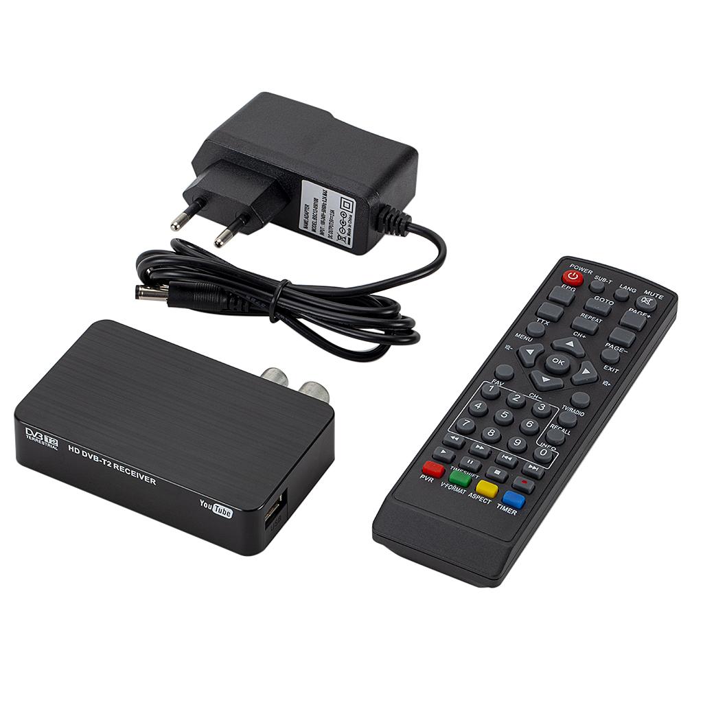K2 DVB-T / T2 TV Receiver 3D Digital Video Terrestrial MPEG4 PVR HD 1080P Set-Top Box TV Box black