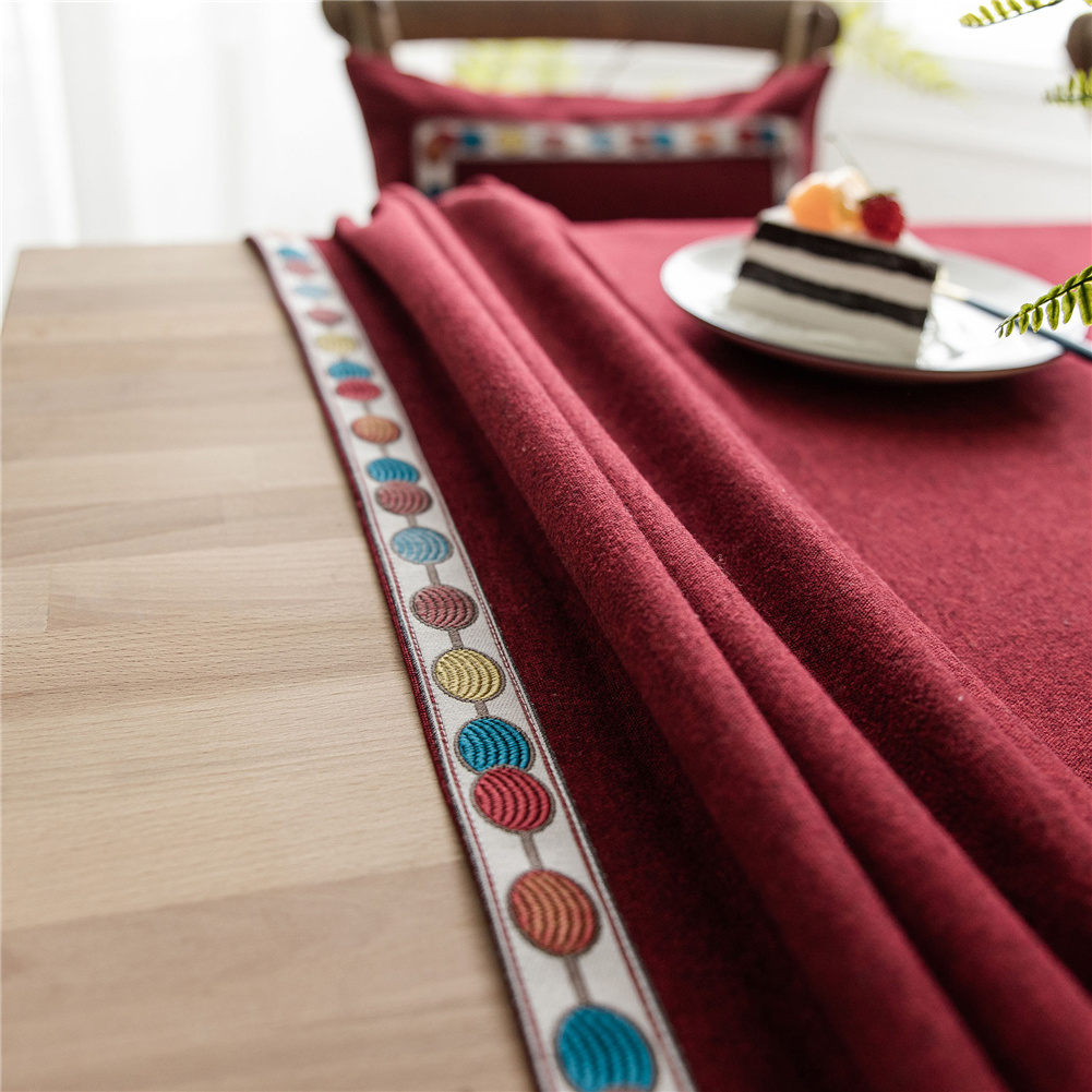 Waterproof Embroidery Table  Cloth Decorative Fabric Table Cover For Outdoor Indoor red_140*140cm