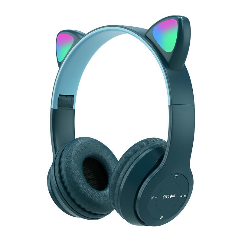 Wireless Headphones Cat Ear With Mic Bluetooth Cool Glow Light Stereo Bass Helmets Kids Gamer Girl Gifts Navy blue