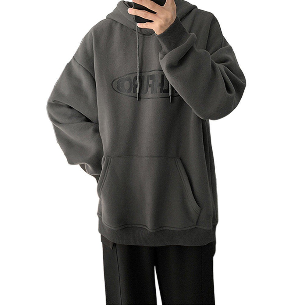 Men Women Spring Autumn Loose Letter Printing Hooded Sweatshirt Dark gray 372_XL
