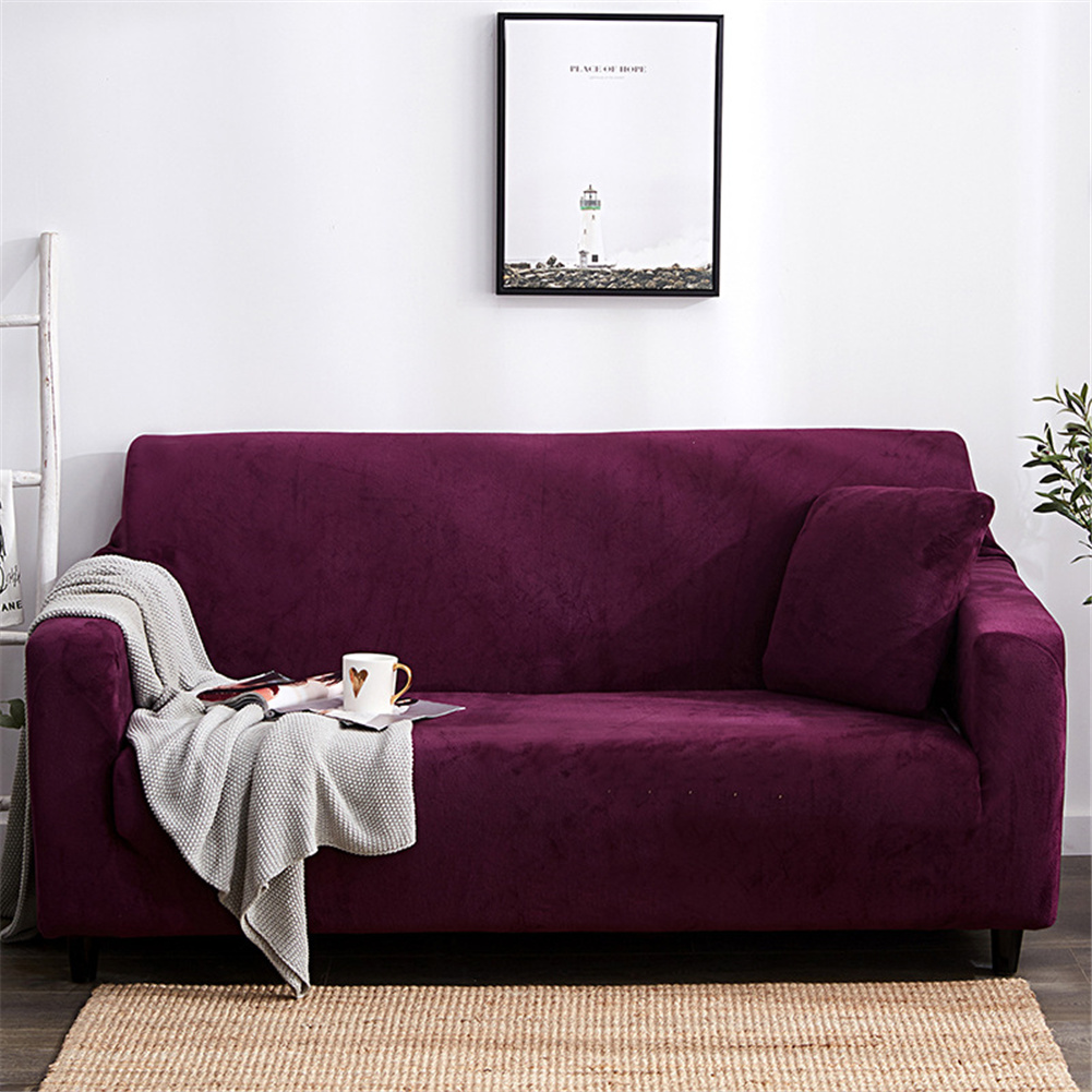 Plush Stretch Sofa Covers Stylish Furniture Cushions Sofa Slipcovers Winter Cover Protector  Wine red_Three people 190-230cm