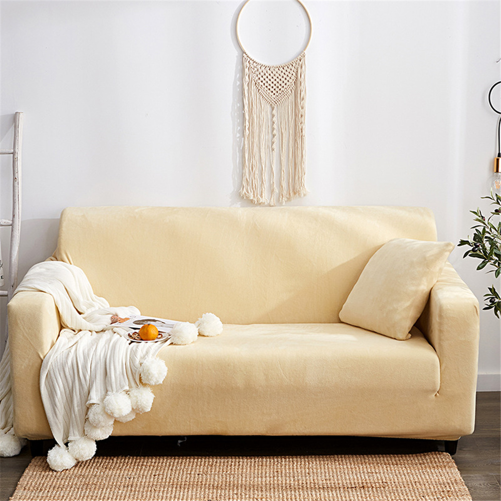 Plush Stretch Sofa Covers Stylish Furniture Cushions Sofa Slipcovers Winter Cover Protector  Beige_Three people 190-230cm