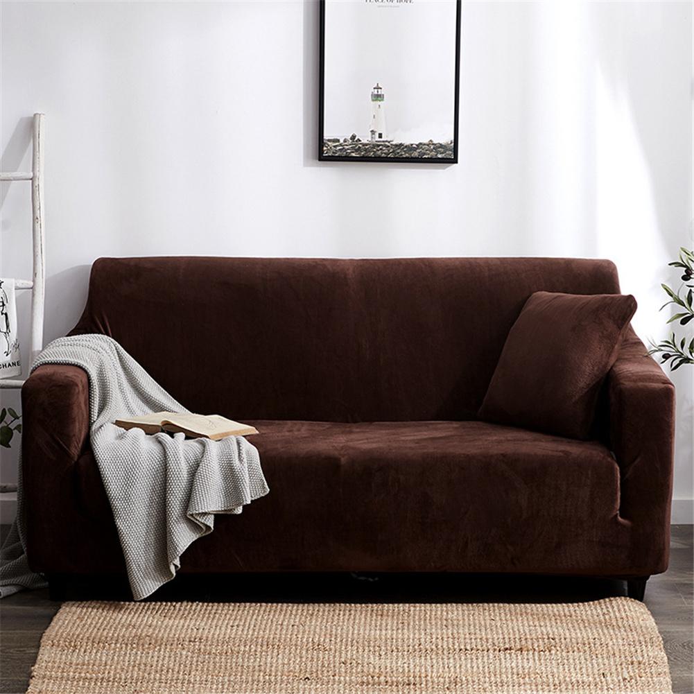 Plush Stretch Sofa Covers Stylish Furniture Cushions Sofa Slipcovers Winter Cover Protector  coffee_Three people 190-230cm