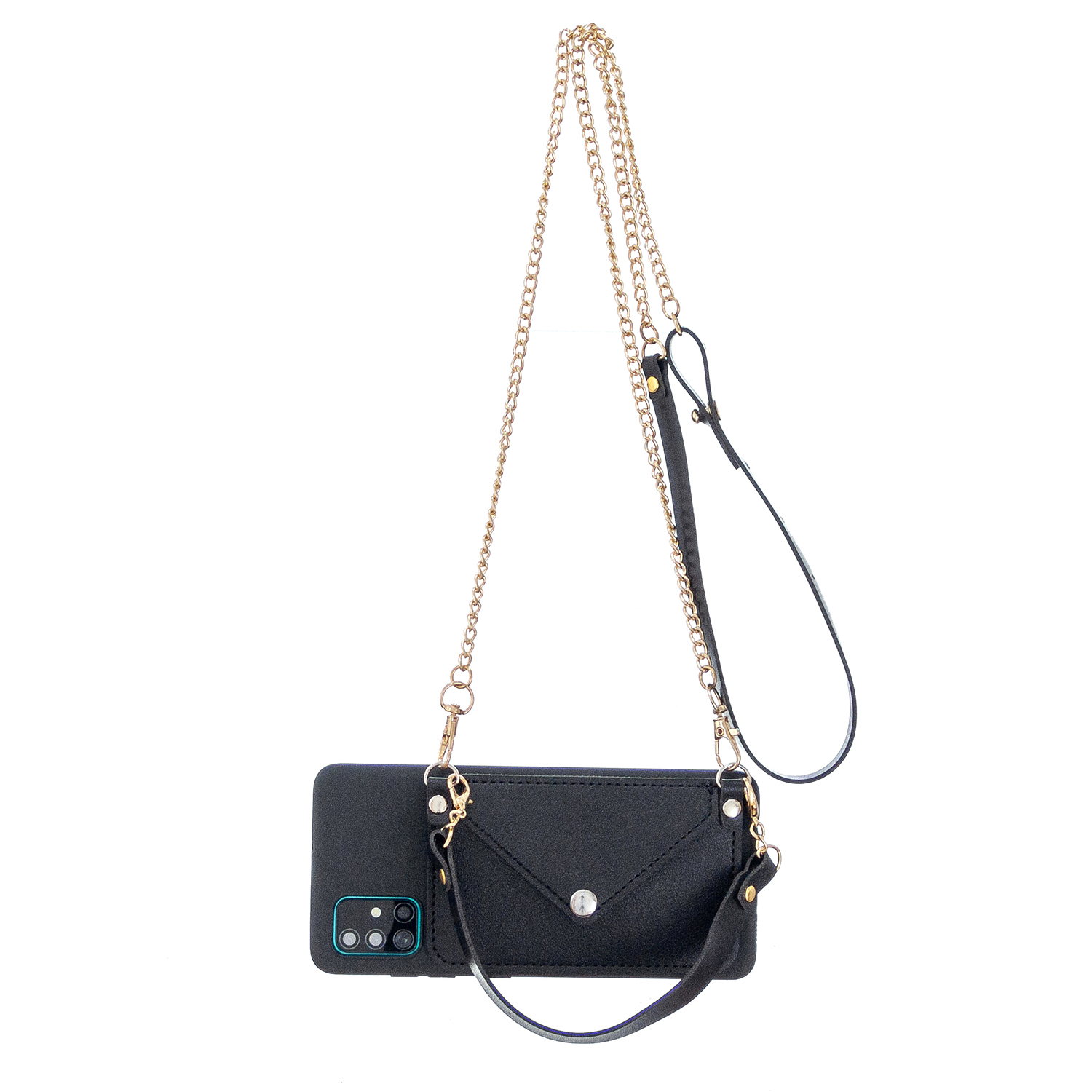 For HUAWEI P40/P40 Lite/P40 Pro Mobile Phone Cover with Pu Leather Card Holder + Hand Rope + Straddle Rope black