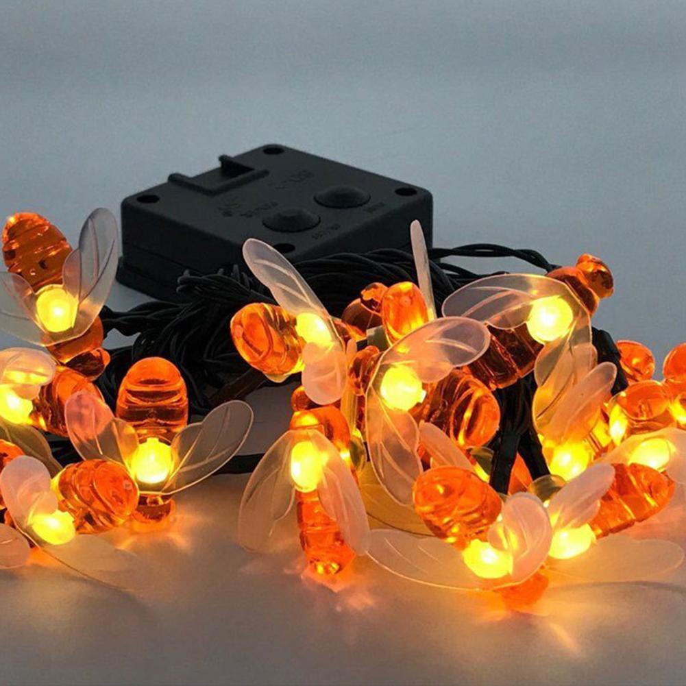 Solar-powered Light Sensor Bee String Lights with Warm Light Garden Flowerpot Home Party Decoration