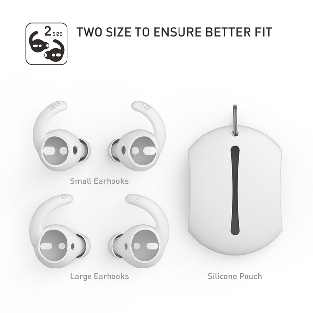 2 Pairs Soft Silicone Ear Hooks Covers for Apple Airpods Earphone Case Eartips Hook Cap Pouch for Apple Airpods Accessories white