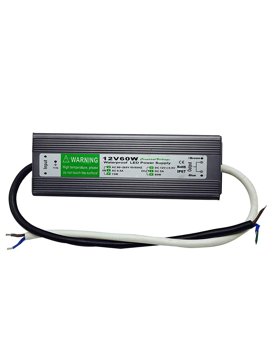 12V IP67 Waterproof LED Power Supply Aluminum Alloy Transformer AC110 to 12 Volt DC Output
