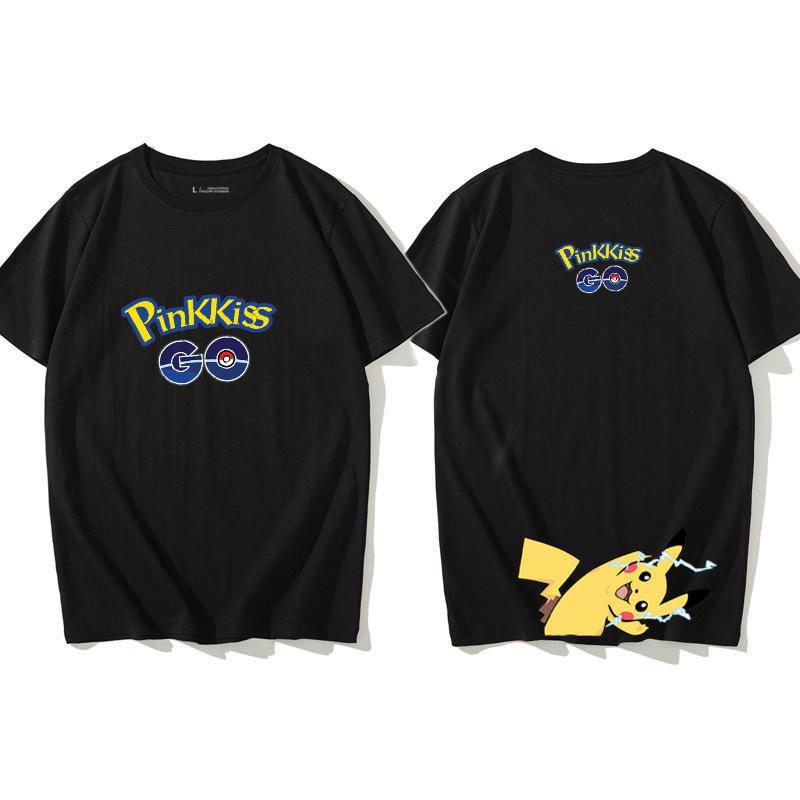 Unisex Pikachu Cartoon Pattern Short Sleeved T-shirt Loose Lovers Fashion Tops