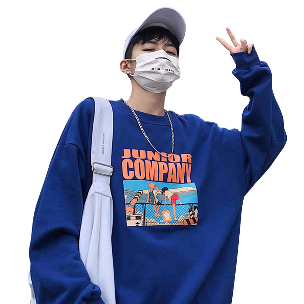 Couple Crew Neck Sweatshirt Hip-hop Junior Company Student Fashion Loose Pullover Tops Blue_XXL