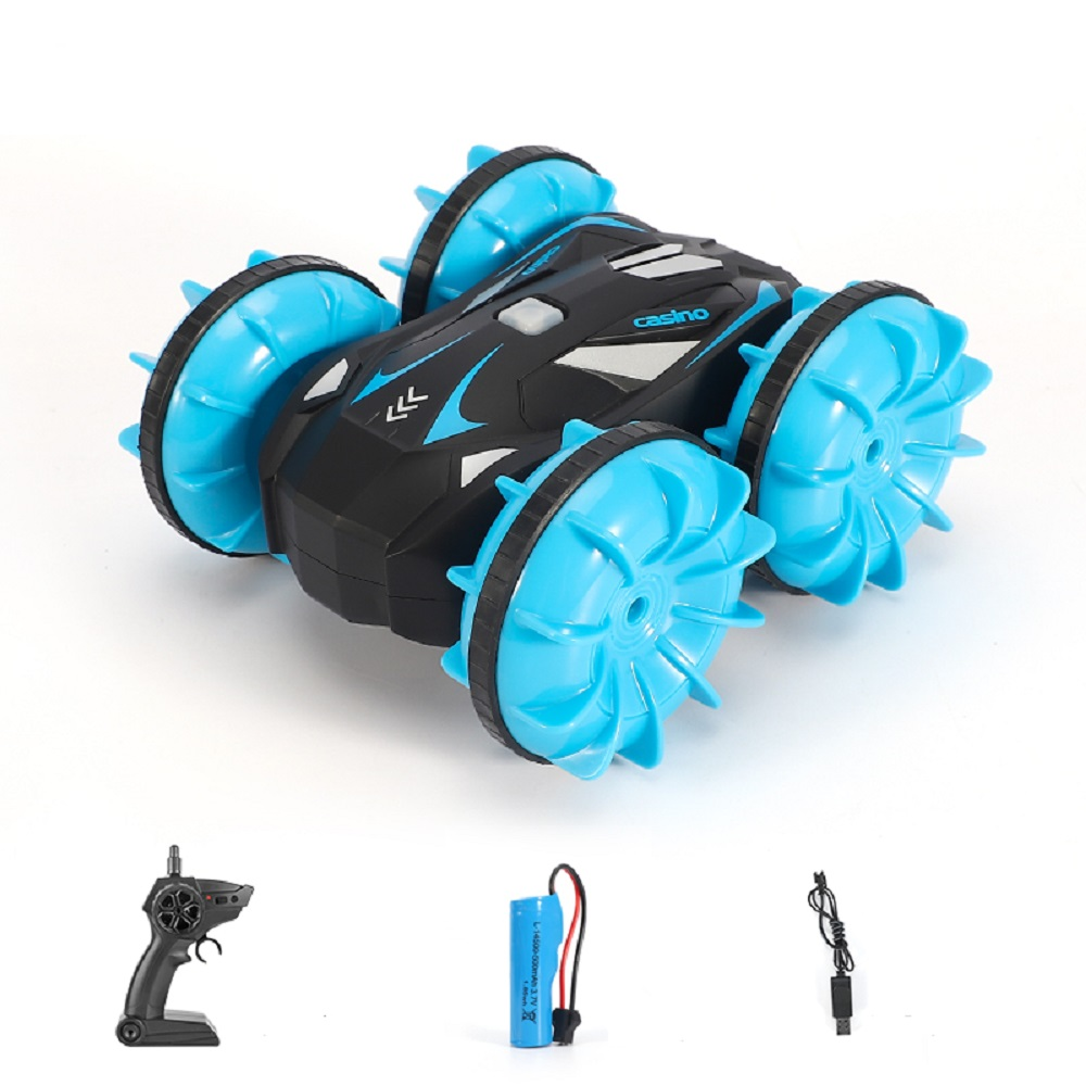 D878  1:20 2.4G RC Stunt Car Land Water Double Side Remote Control Vehicle Toy blue