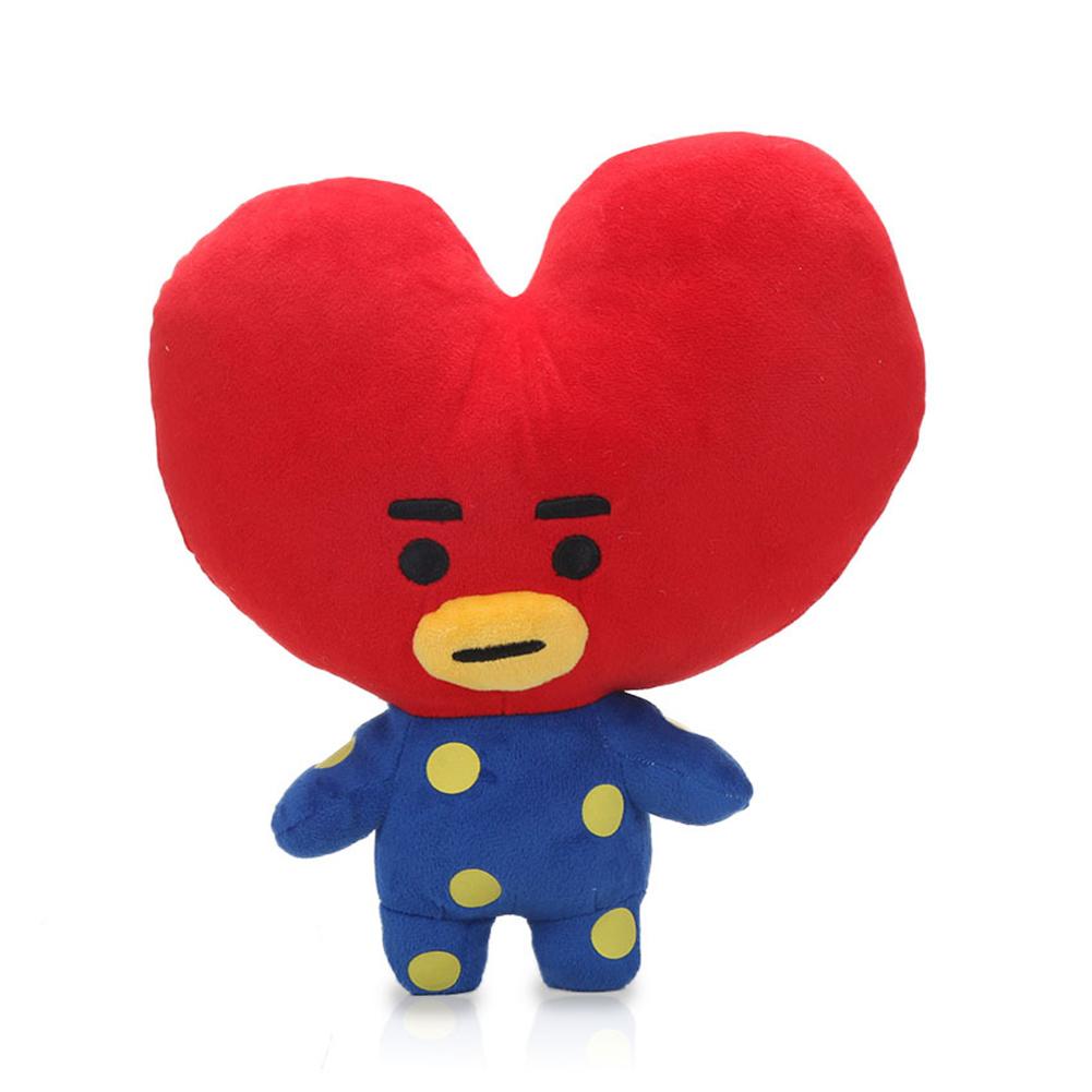 Kpop BTS BT21 Bangtan Boys Plush Cushion Stuffed Toy Dolls TATA COOKY CHIMMY SHOOKY MANG KOYA Red Heart 28cm