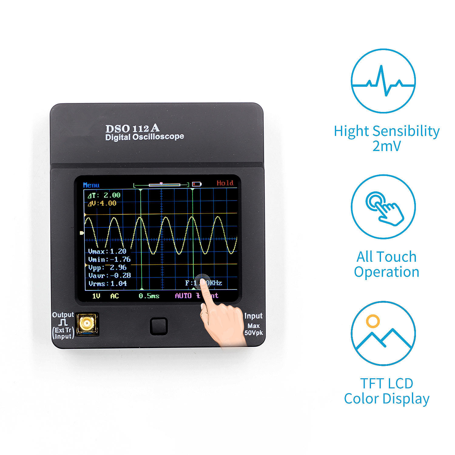 DSO112A Handheld Digital Storage Oscilloscope TFT Touch Screen 2MHz 5Msps Package 1 (with ordinary probe)