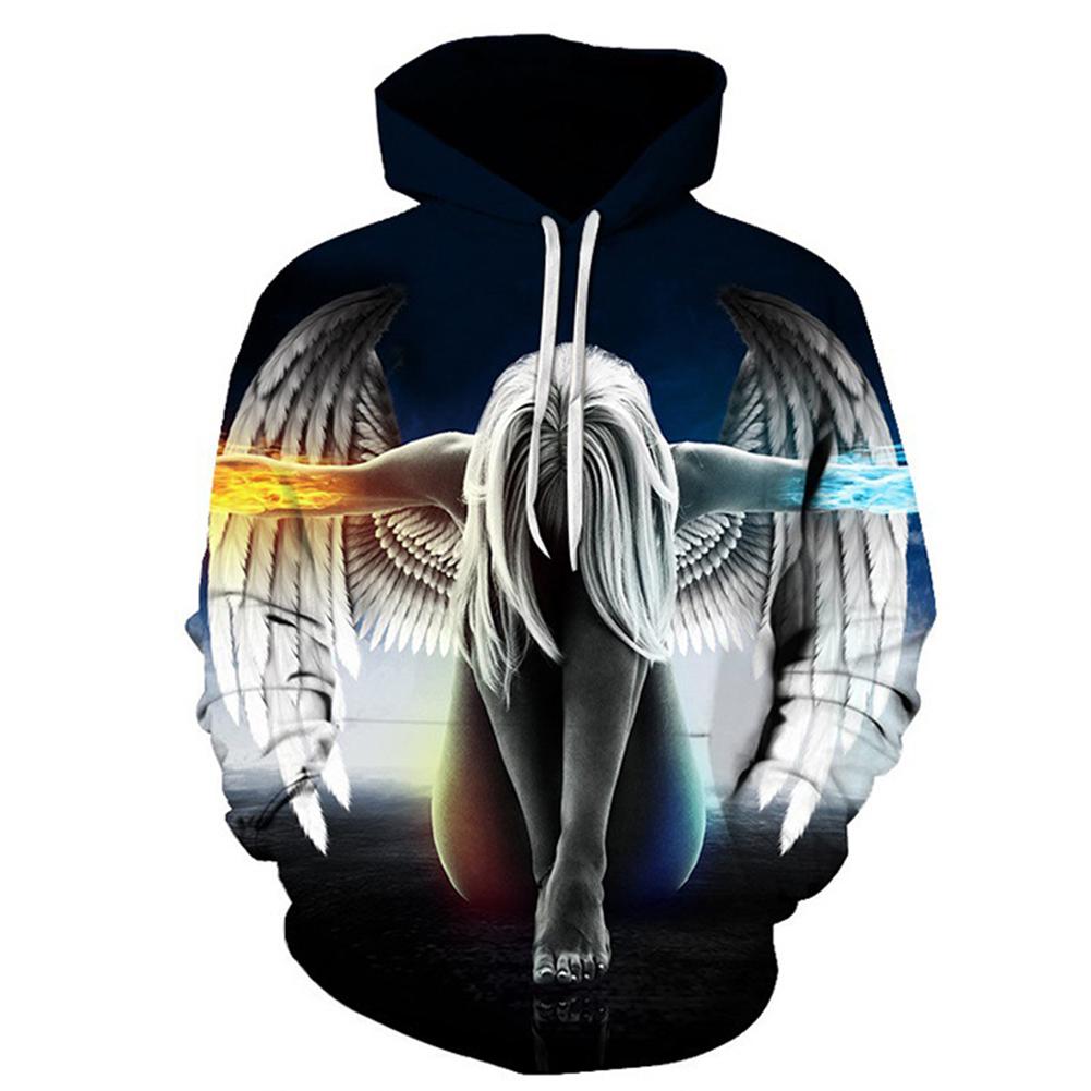 Men Women 3D Angel Wing Printing Loose Hooded Sweatshirt Photo Color_M
