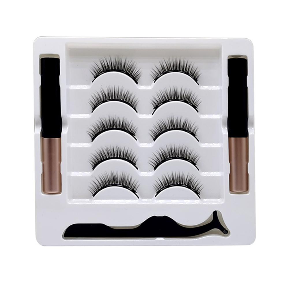 3d Magnetic False Eyelashes Eyeliner Set Natural Long In Bulk Magnetic Eyeliner Magnetique Tweezer Kit Waterproof   Five pairs