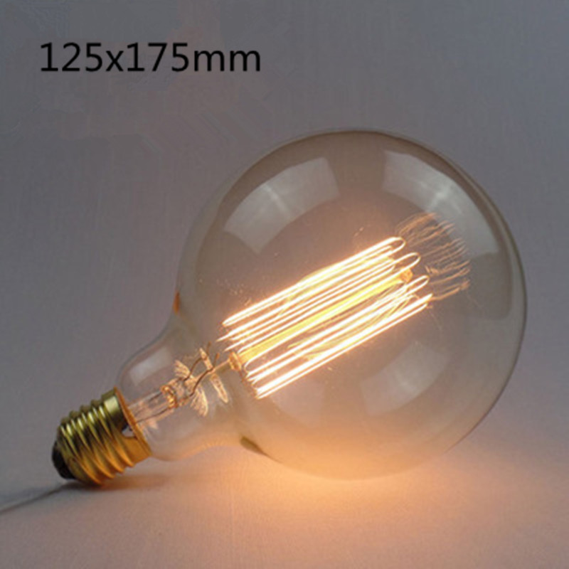 LED Retro Style Edison Tungsten Lamp Bulb Warm Yellow Lighing Color  G125 straight wire