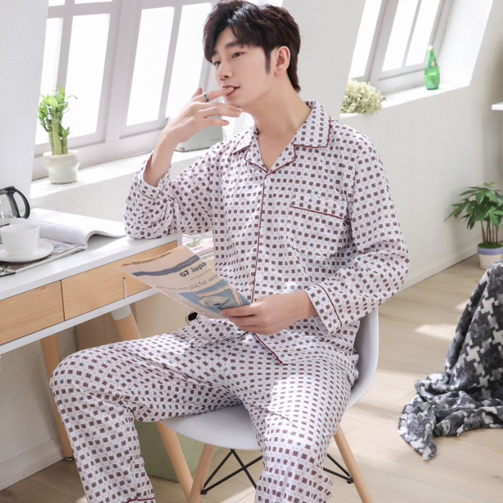 Men Spring and Autumn Cotton Long Sleeve Casual Breathable Home Wear Set Pajamas 8851 red_XXXL