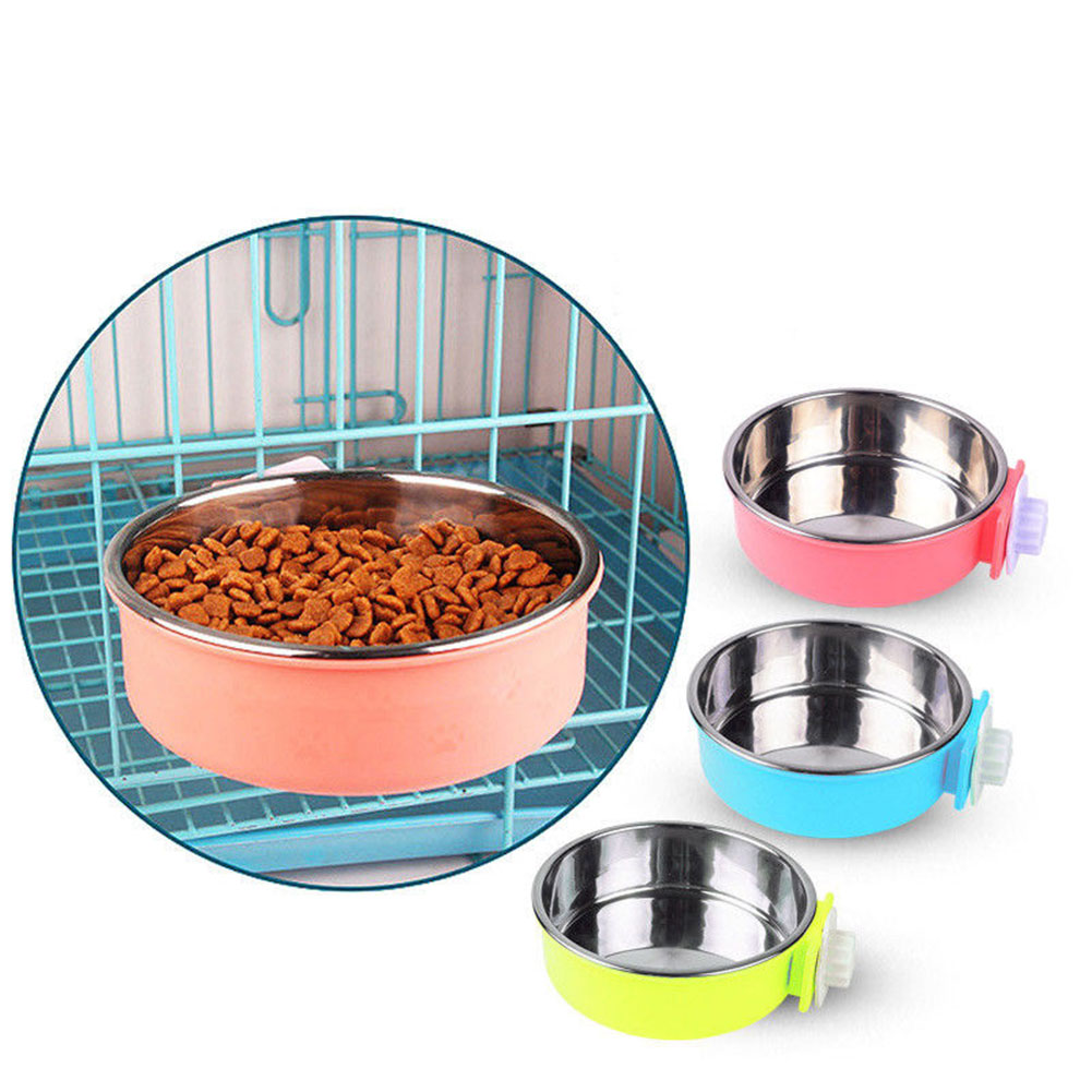 Hang-on Pet Dog Cat Bowl Food Water Dish Feeder Stainless Steel Bowl  pink_large