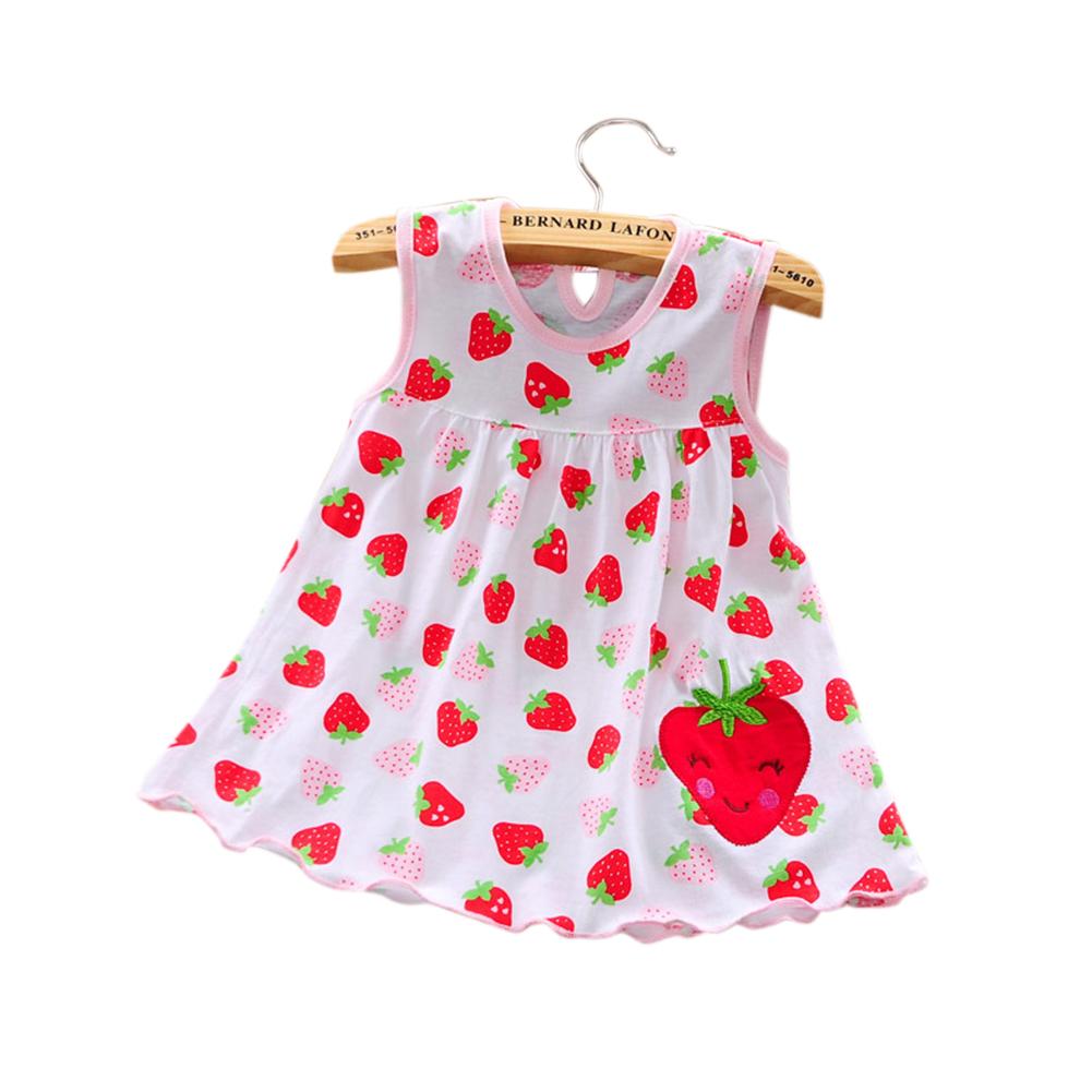 [Indonesia Direct] Cute Cartoon Newborn Baby Printing Sleeveless Dress Casual Round Neck Skirt Strawberry_0-1 years old skirt, 1-2 years old tops