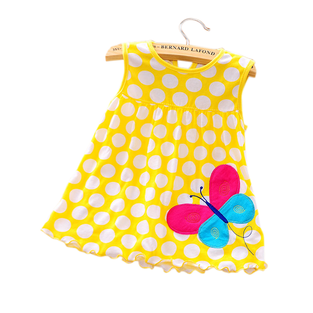 [Indonesia Direct] Cute Cartoon Newborn Baby Printing Sleeveless Dress Casual Round Neck Skirt Yellow wave point butterfly_0-1 years old skirt, 1-2 years old tops