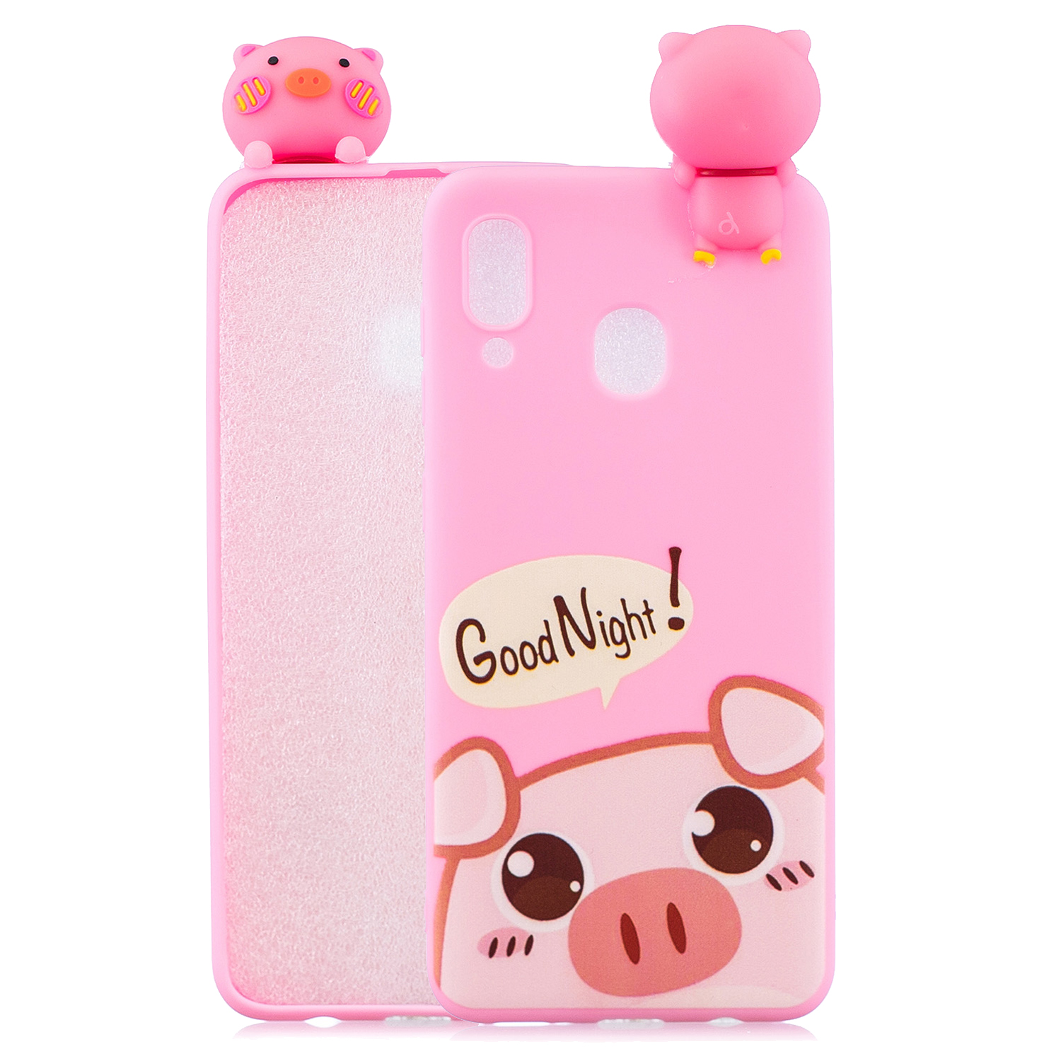 For Samsung M20 3D Cute Coloured Painted Animal TPU Anti-scratch Non-slip Protective Cover Back Case Rose red