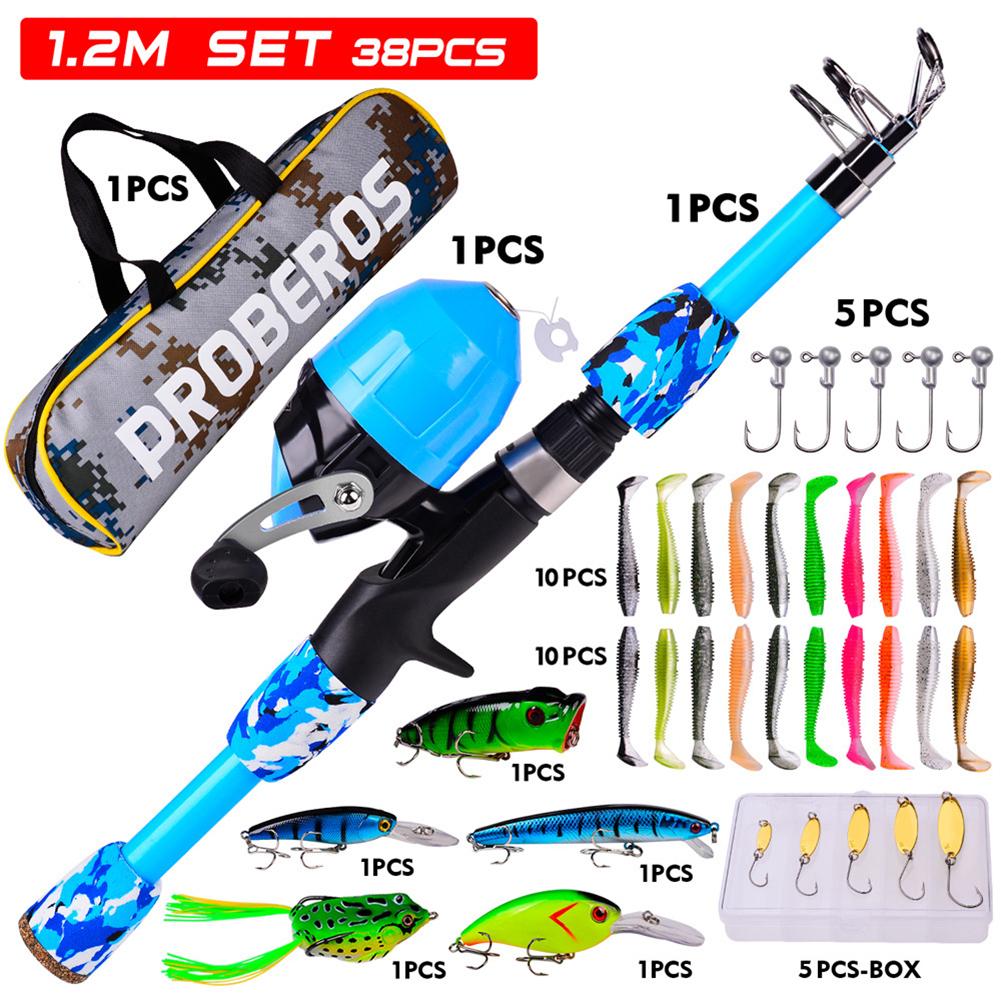 38pcs/set Children Sea Pole Set Mini Spinning Rod Fishing Rod Accessories Camouflage blue_38-piece suit/1.2m