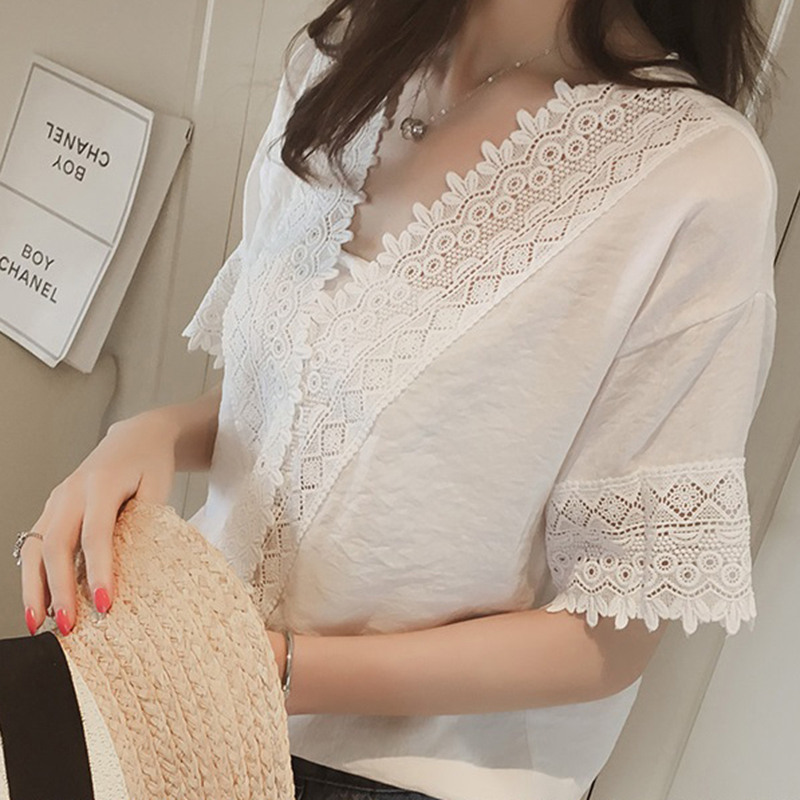 [Indonesia Direct] Women Casual Simple V Neck T-shirt Lace Hollow Loose All-match Tops white_2XL