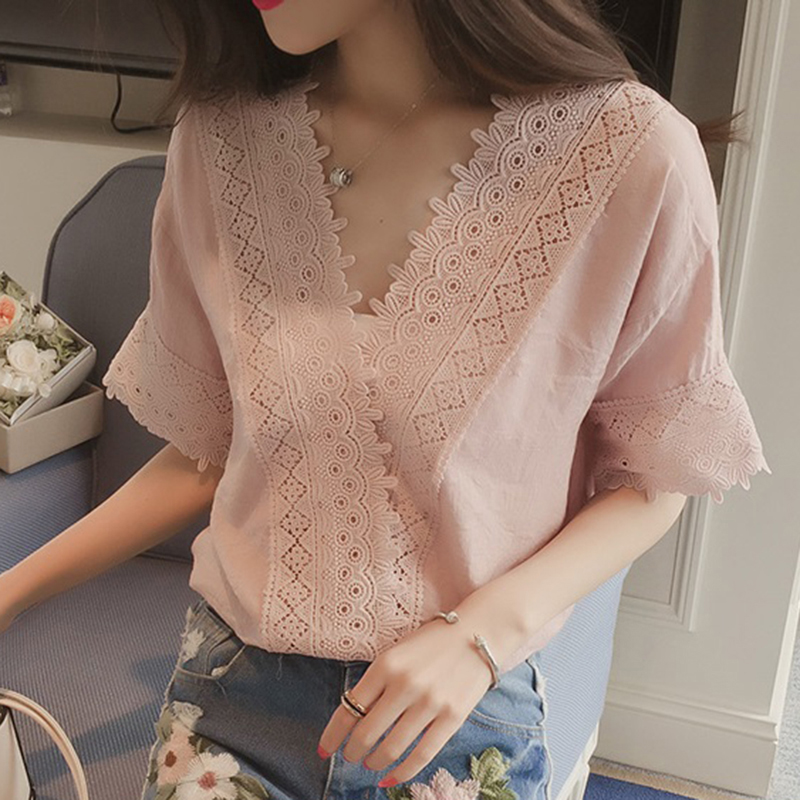 [Indonesia Direct] Women Casual Simple V Neck T-shirt Lace Hollow Loose All-match Tops Pink_M