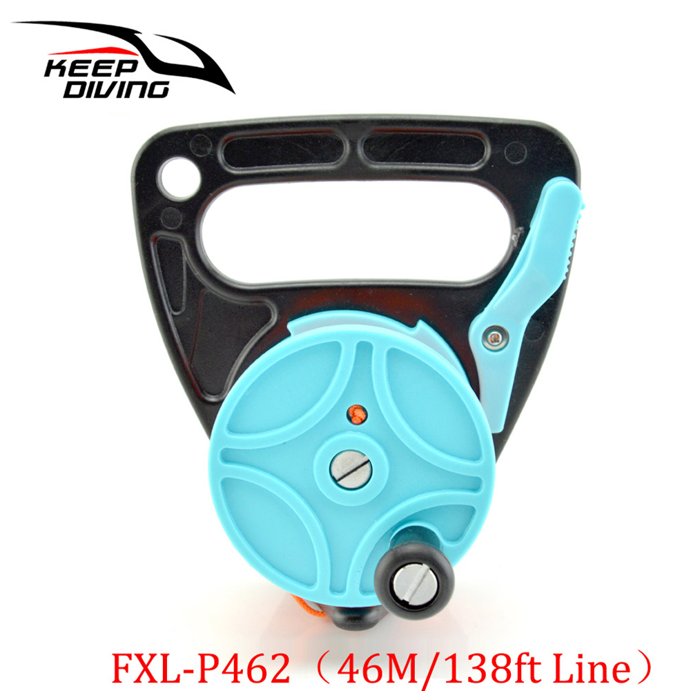 46/83m Line Handheld Diving Cave Reel for Underwater Scuba Wreck Cave Diving Snorkeling SMB Accessories 46 meters light blue
