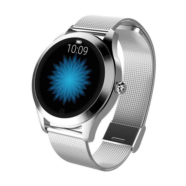 IP68 Waterproof Smart Watch Lovely Women Bracelet Heart Rate Monitor Sleep Monitoring Smartwatch Fitness Wristband Silver dial silver steel strap